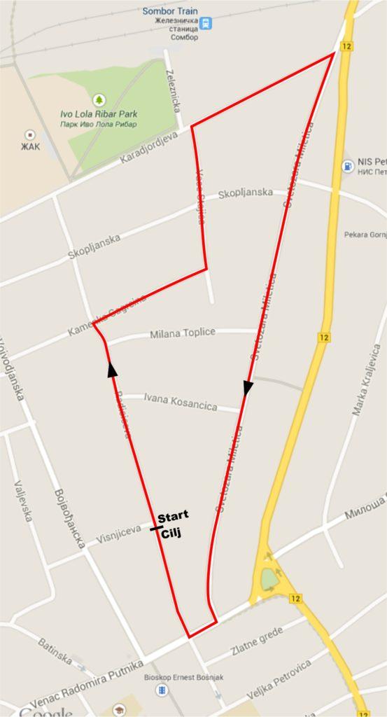 Trasa trke biciklizam Sombor