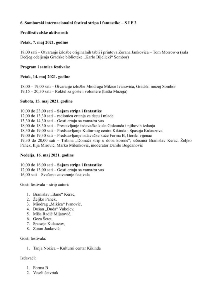 Program festivala strip